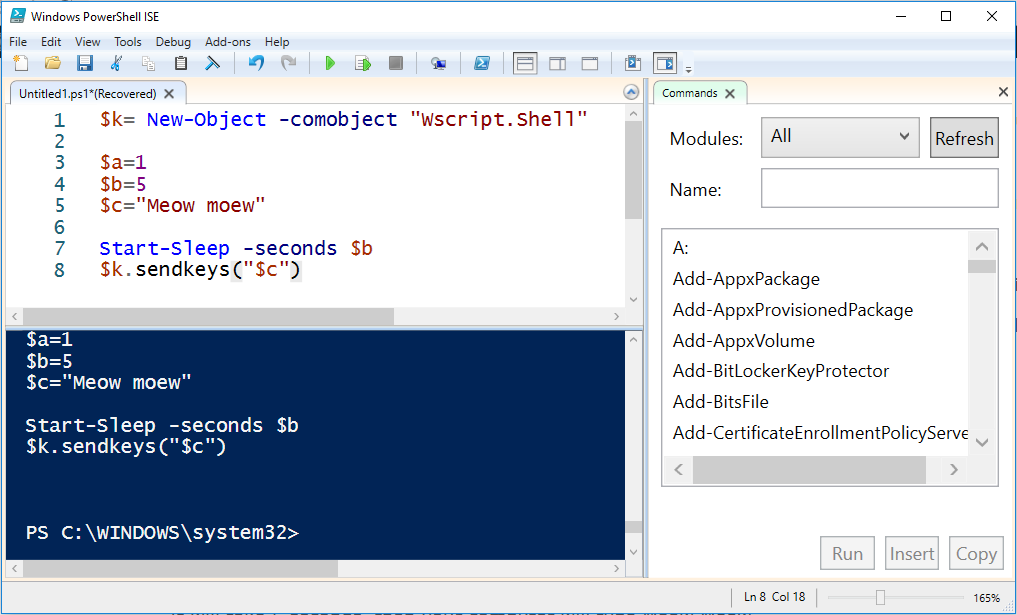 Powershell ISE is a free app to help you develop code in Powershell. AKA Posh.